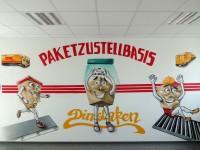 Die fertige DHL-Wandgestaltung