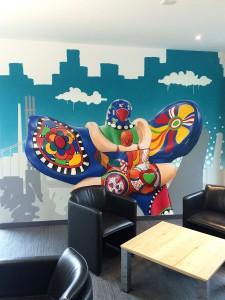 """Wandgestaltung per Graffiti """"Lifesaver"""""""