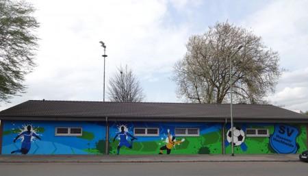 Graffiti beim SV Haesen/Hochheide in Duisburg-Homberg