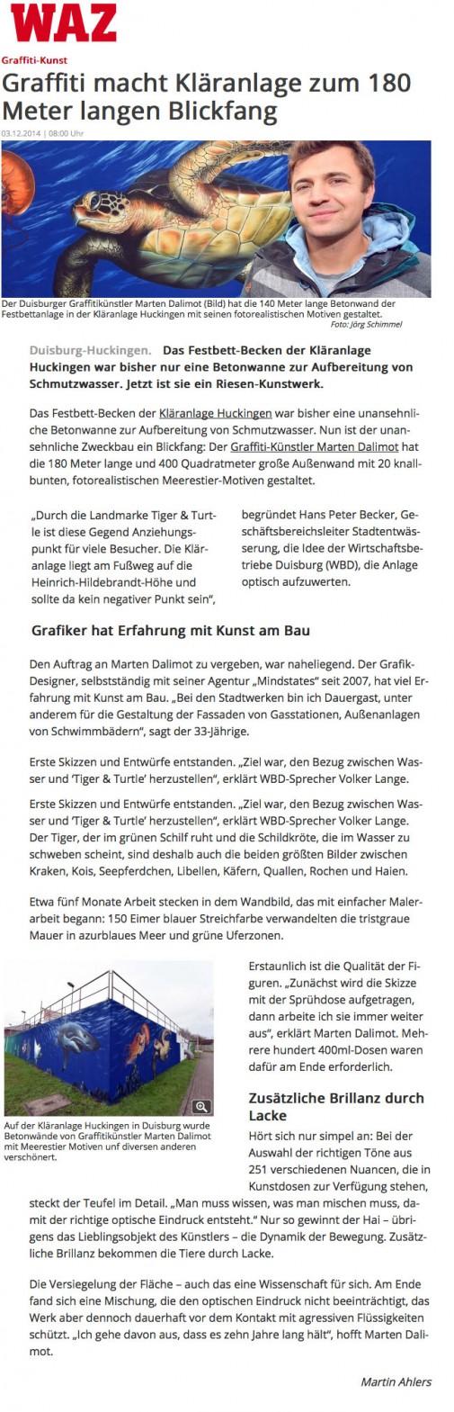 WAZ online vom 3.12.2014 - Klärwerk Huckingen