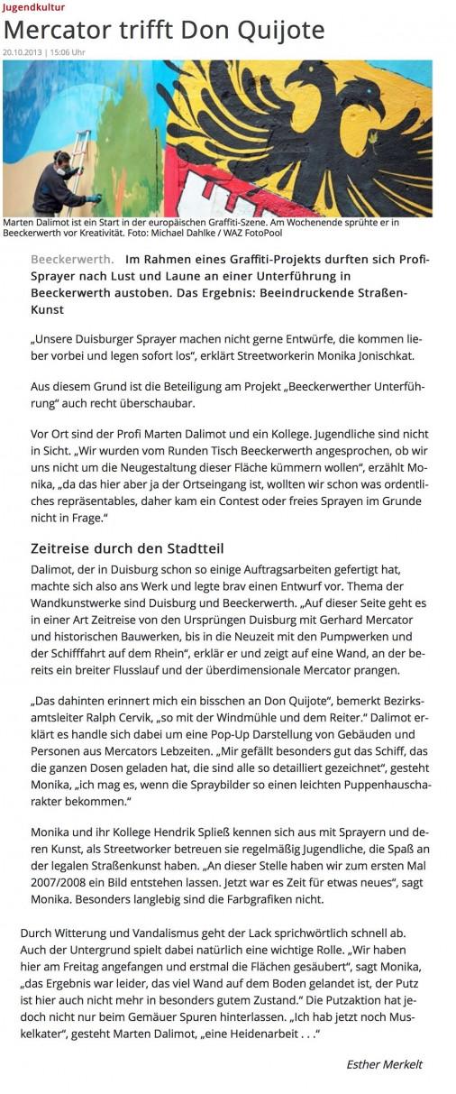 WAZ Artikel vom 20.10.2013