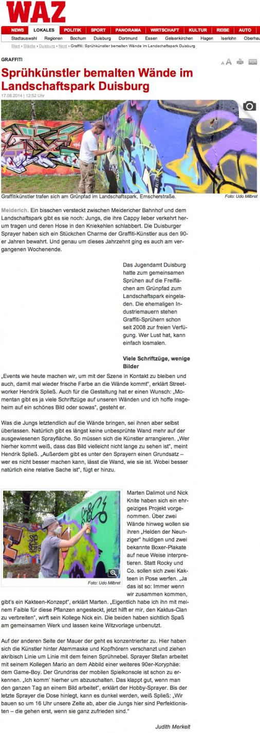 Artikel zur Graffiti Jam am 16.8.2014 in Duisburg