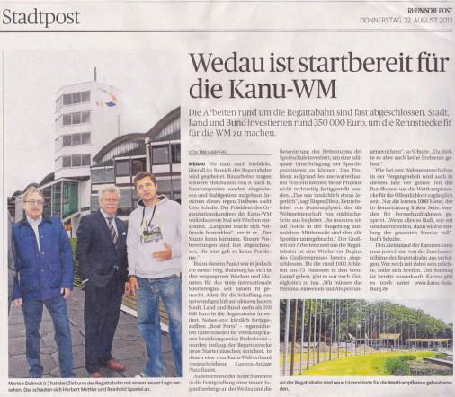 Artikel Rheinische Post Kanu WM